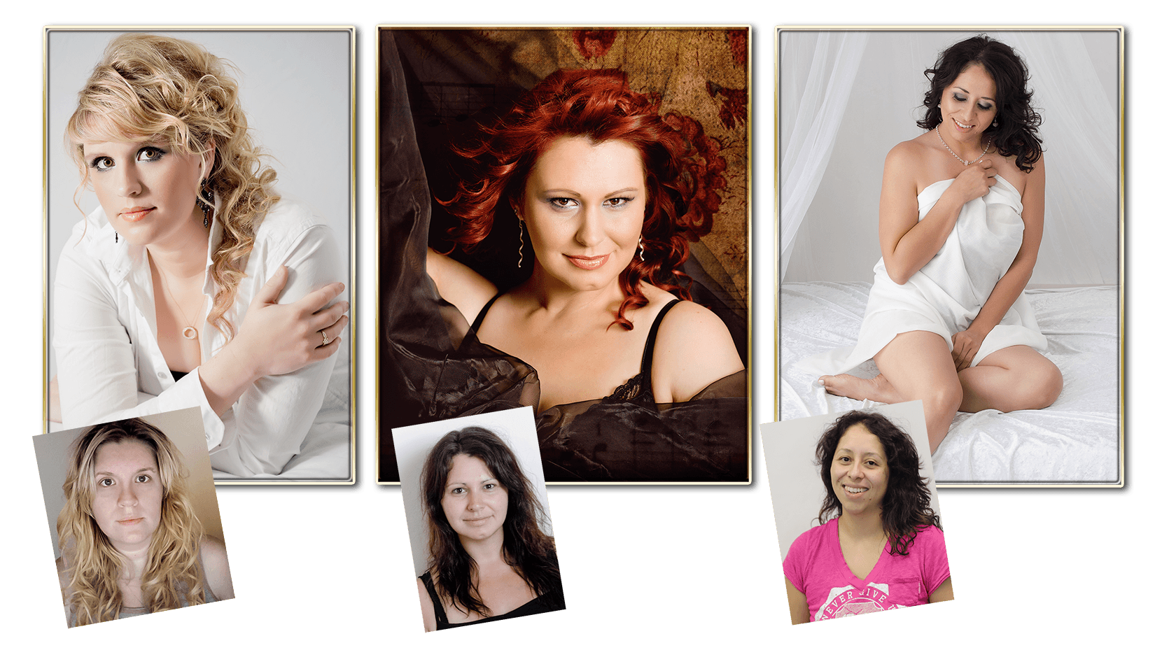 before and after photos of glamour portrait photography