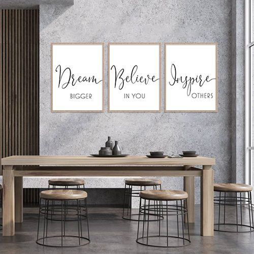 dream believe inspire designer wall art