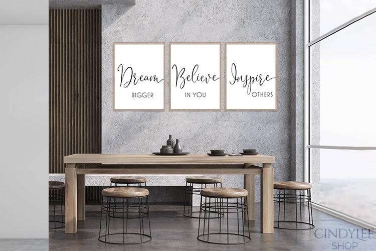 dream believe inspire designer wall art