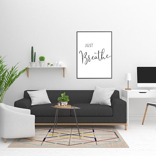 just breathe designer wall art poster design