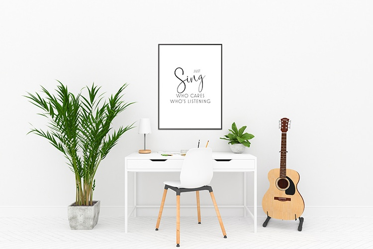 just sing wall poster with desk & guitar